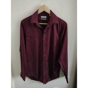Calvin Klein Maroon Slim Button Down Shirt 14.5